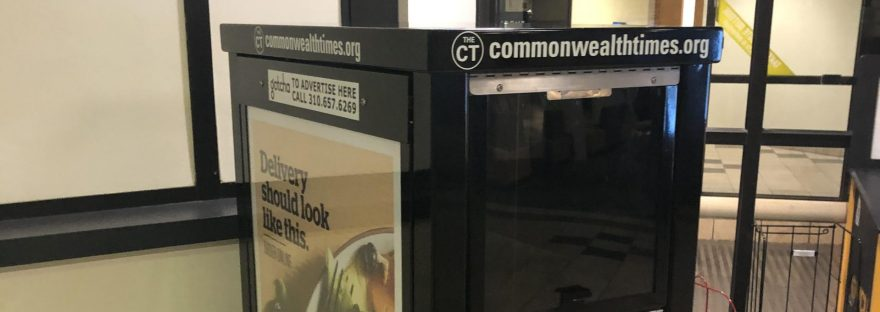 An empty newsstand of The Commonwealth Times