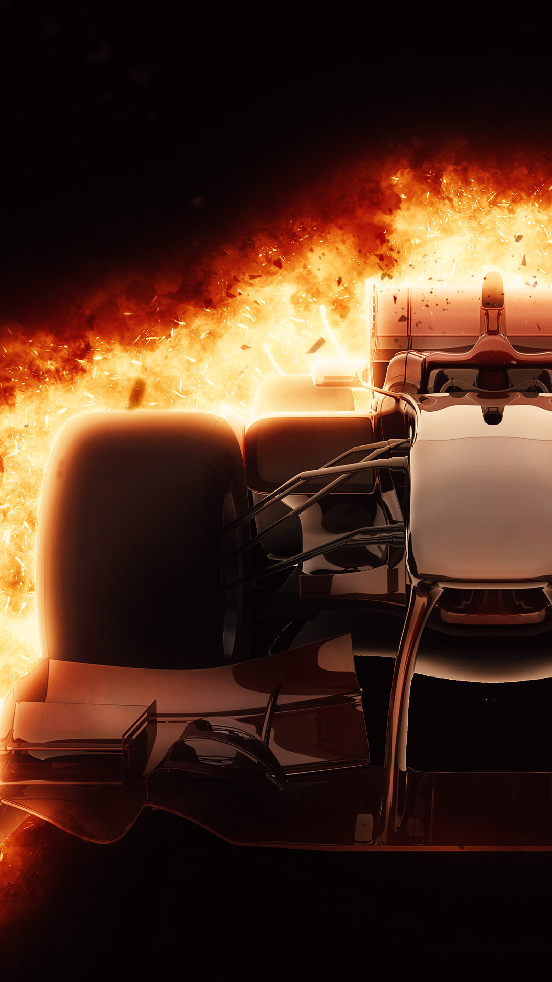 Burning F1 Car 1080 X 1920 HD Phone Wallpaper
