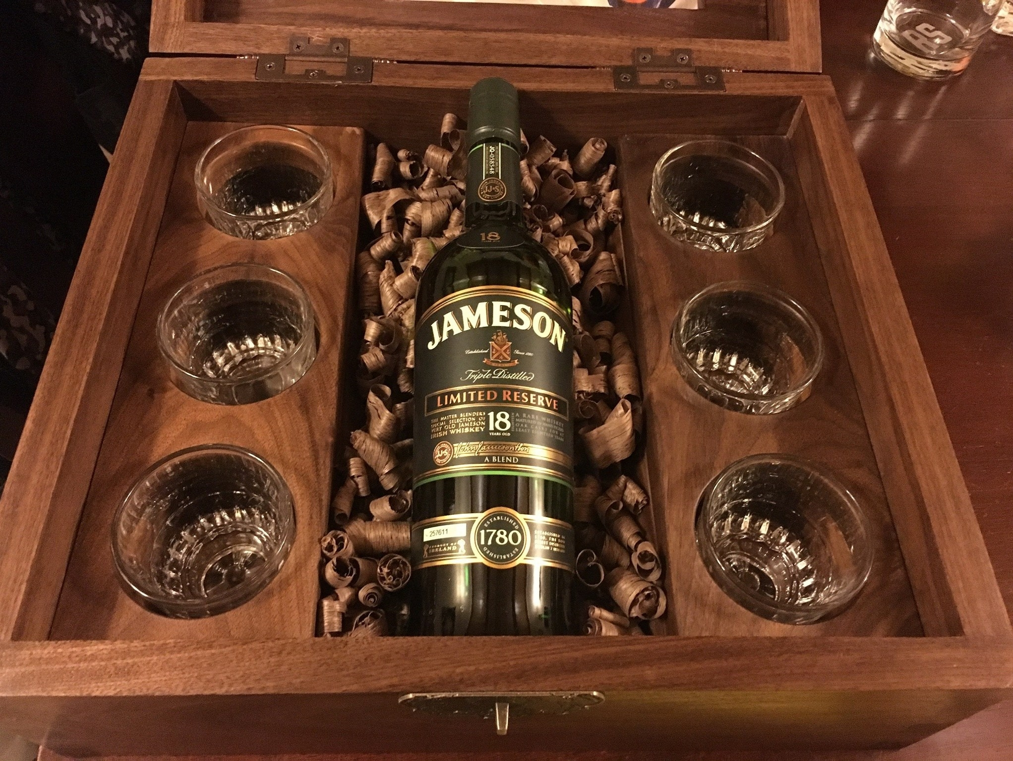 Interior of whiskey box.