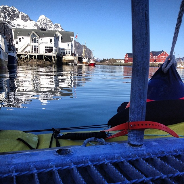 Kyle Miller uses his strap to secure his Sea Kayak in Norway.