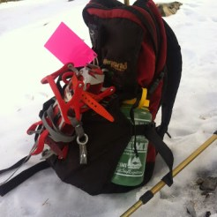 HansGludwig strapping crampons to the pack