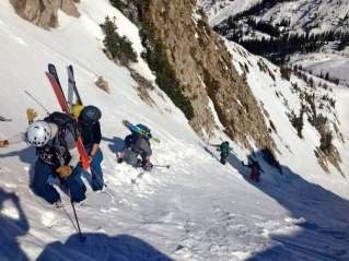 Setting the bootpack for the skiers.