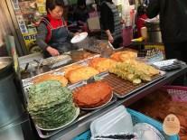 (From left) Spring Onion Pancake, Kimchi Pancake at Gwangjang Market.