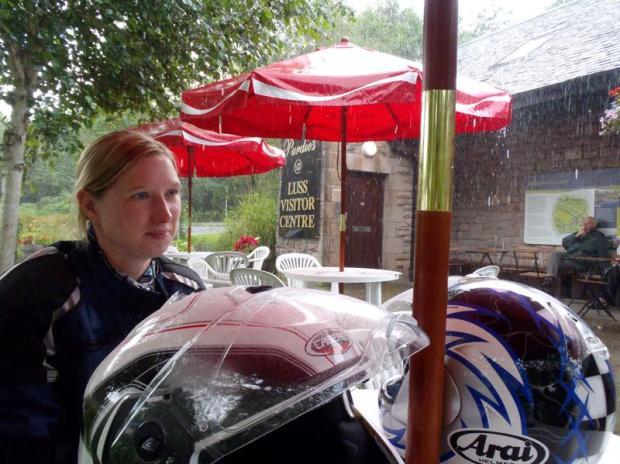Sitting in the rain at Luss