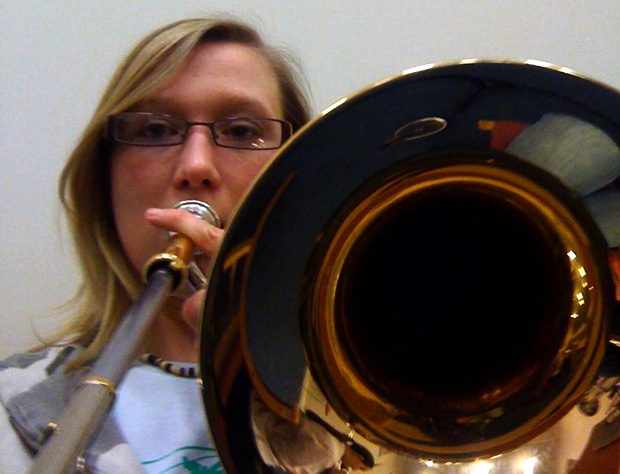 Selfie - playing my trombone