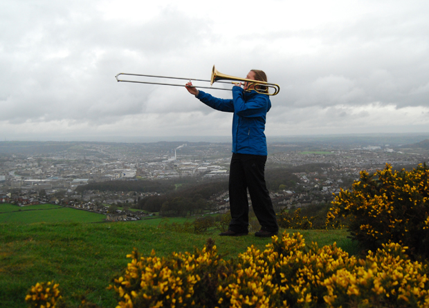"""Extreme Tromboning"" on Castle Hill, overlooking Huddersfield"