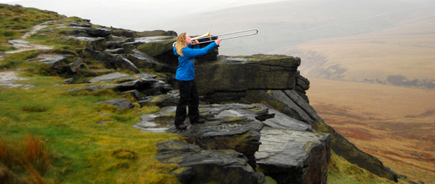 """Extreme Tromboning"" at Buckstones Edge on Marsden Moor"