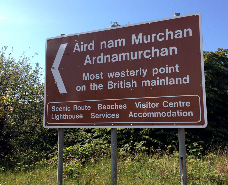The sign to Ardnamurchan Point - 25 miles to go