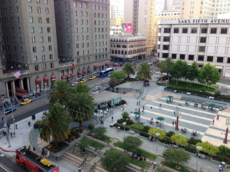 Union Square from the balcony at Macy's