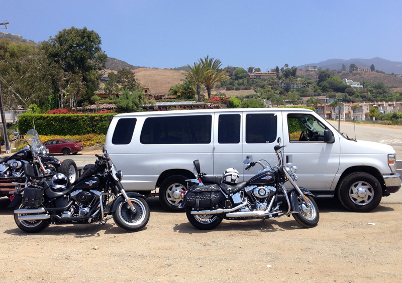Our bikes and the Support Van at Malibu
