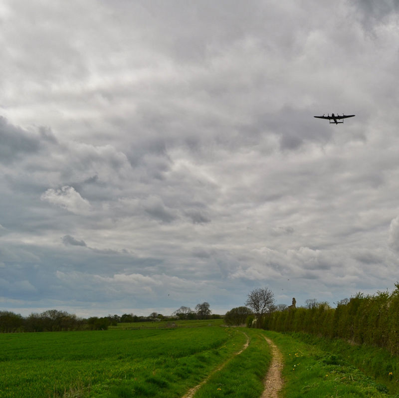 Lincolnshire - Lancaster Bomber over Barlings Abbey