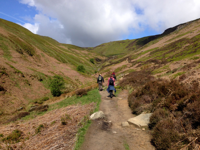 Walking up the Grinds Brook path