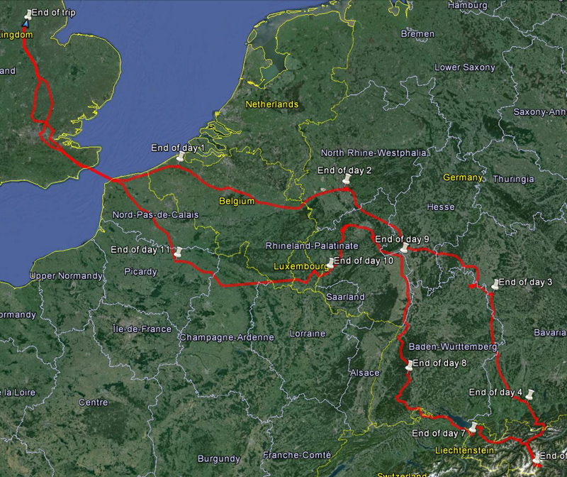 Motorbike Tour of Europe - Map