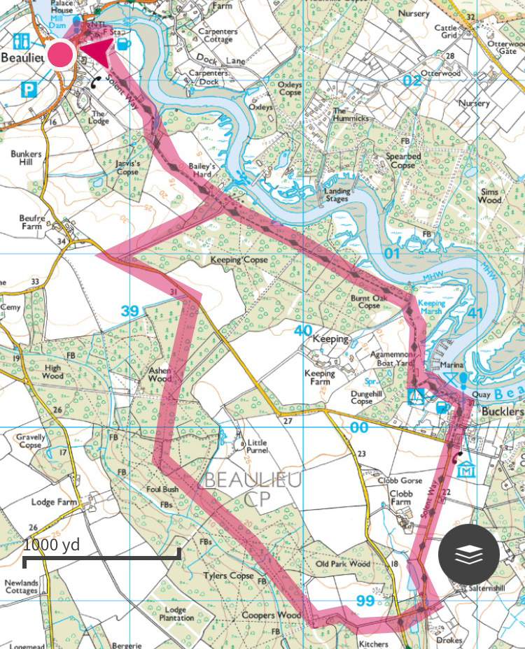 New Forest Walk OS Maps, Beaulieu to Bucker's Hard, Splodz Blogz