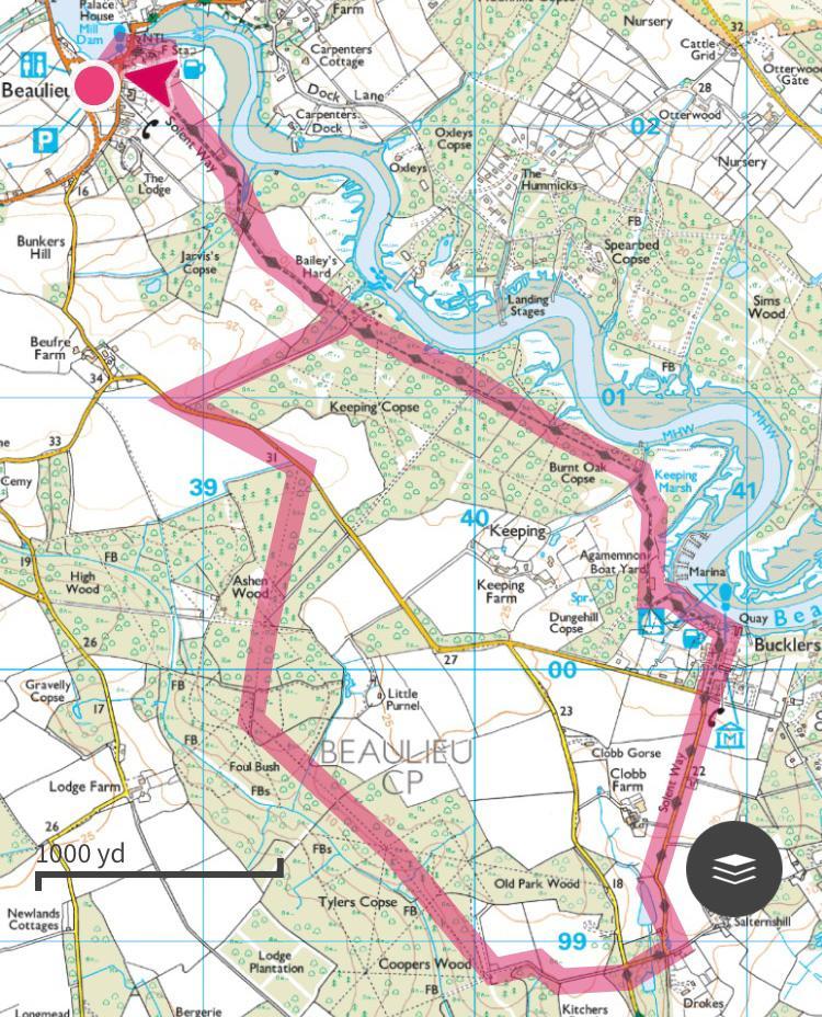 New Forest Walk OS Maps, Beaulieu to Bucker's Hard, Splodz Blogz