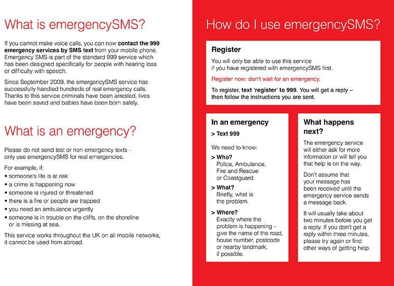Emergency SMS Information