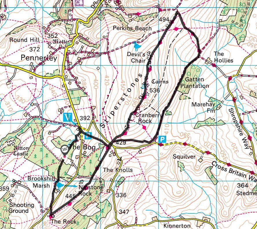 Splodz Blogz | Hiking the Stiperstones - Courtesy of OS Maps