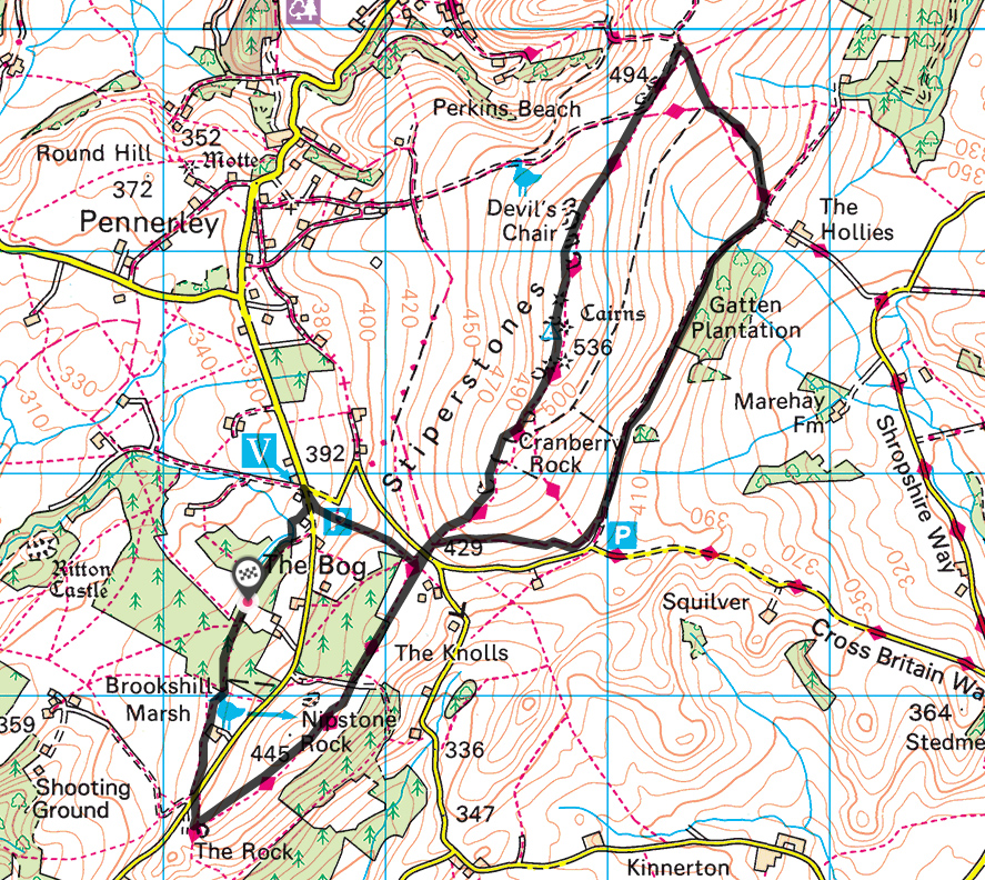 Splodz Blogz | Hiking the Stiperstones - Courtesy of OS Maps