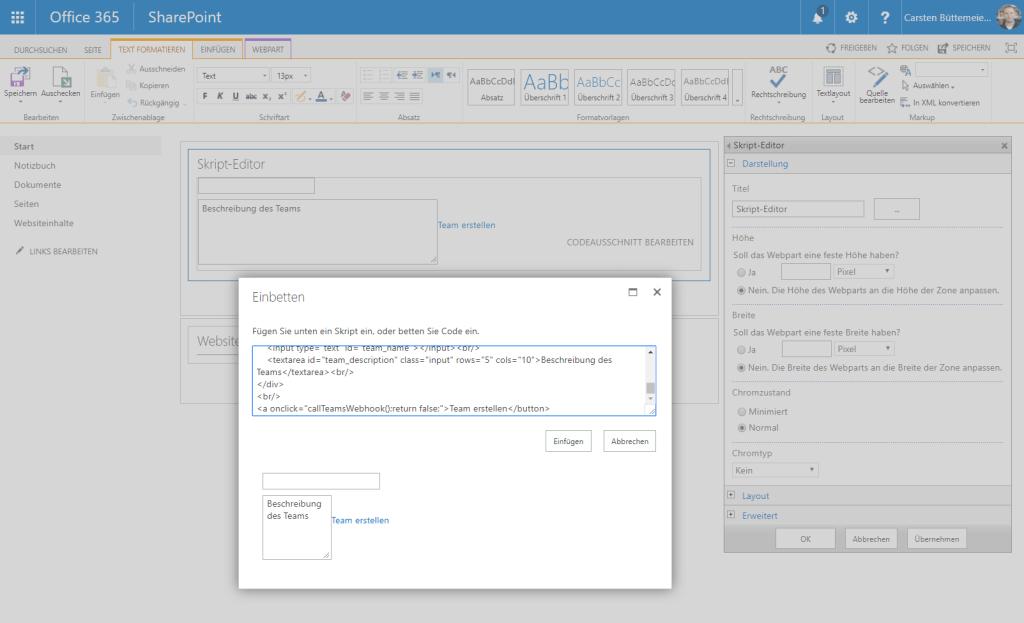 Skript Editor WebPart in SharePoint