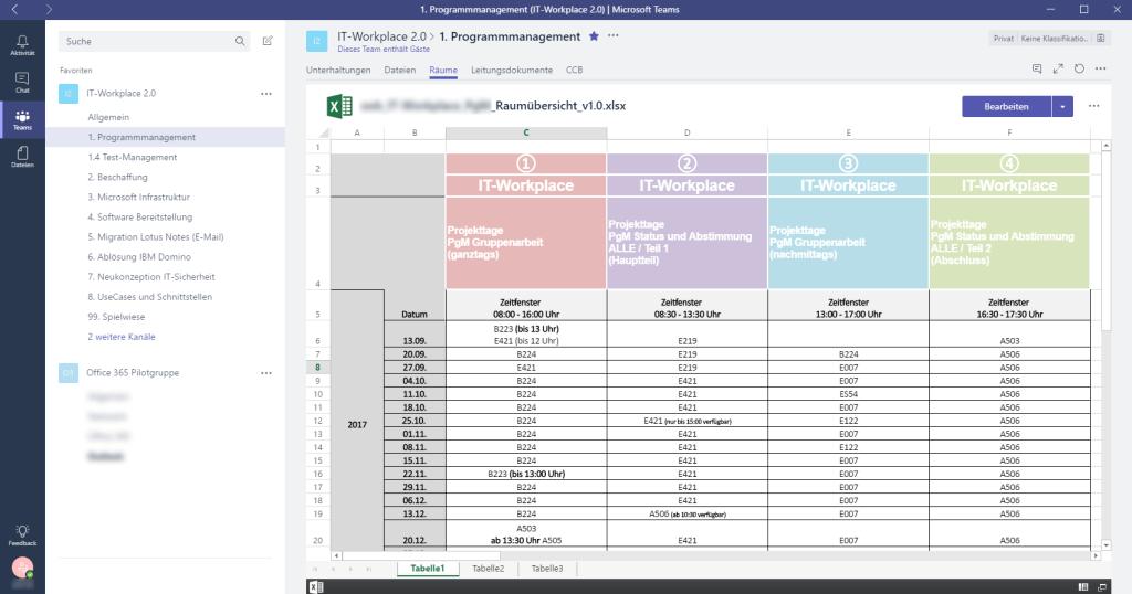 Raumliste als REgisterkarte im Teams-Client