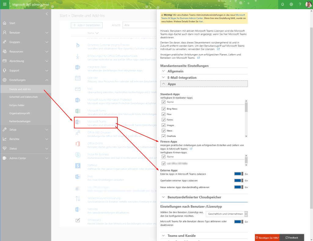 Einstellungen für Teams Apps im Admincenter von Office 365