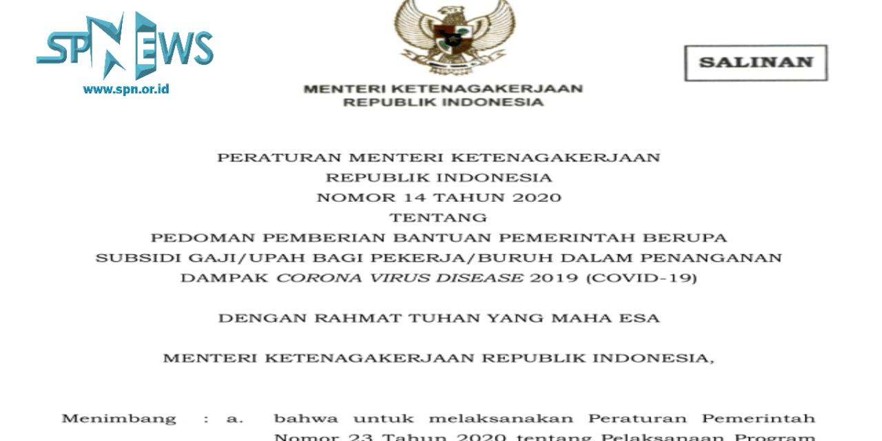 PERMENAKER NO 14/2020 ATUR SYARAT SUBSIDI UPAH BAGI BURUH