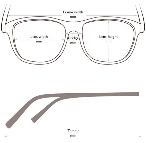 Sunglasses frame size