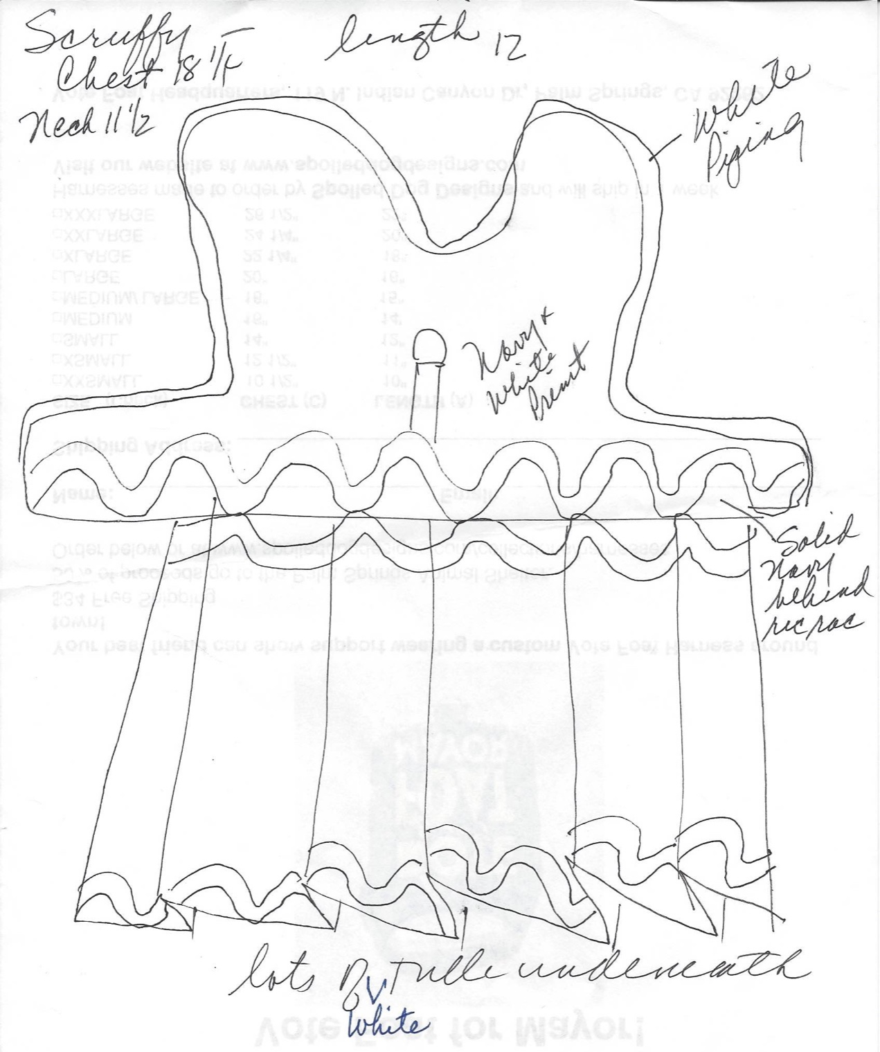Notes for scruffy's dress
