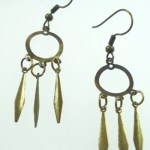 Metal Dangle Bronze Gypsy Earrings Round