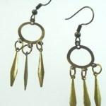 Metal Dangle Bronze Gypsy Earrings Round