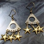 Metal Dangle Bronze Gypsy Earrings 3 Stars