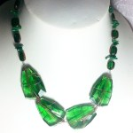 Emerald Green Faceted Glass Gold Wire Work Necklace