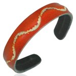 Mens Womens Handmade Leather Orange Waves Cuff Bracelets
