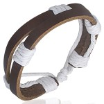 Leather Mens Womens Handmade Brown White Bracelet