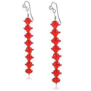 Red Crystal Long Earrings