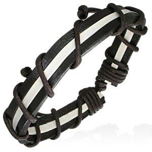Leather Black White Stripe Bracelet
