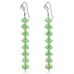 Green Crystal Long Earrings