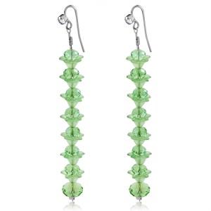 Green Crystal Long Earrings