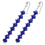 Dark Blue Crystal Long Earrings