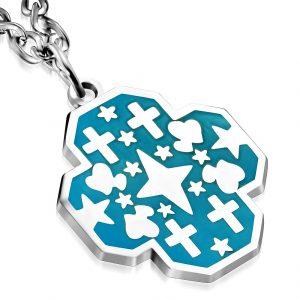 Love Heart Star Cross Pendant & Chain Necklace