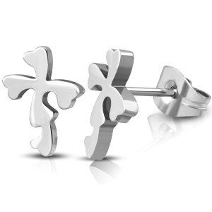 Crucifix Heart Earrings