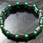 Hematite Gem Acrylic Beaded Stretch Bracelet Bangle Dark Green