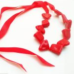 """Jewellery Resin Extra Long 48"""" Red Necklace & Large Bracelet Anklet Ribbon New"""