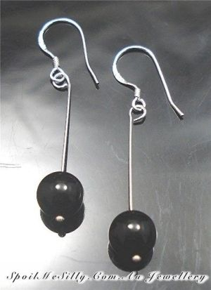 Sterling-Silver-925-Black-Onyx-Beaded-Gemstone-Jewellery-Earrings-NEW-400614849469