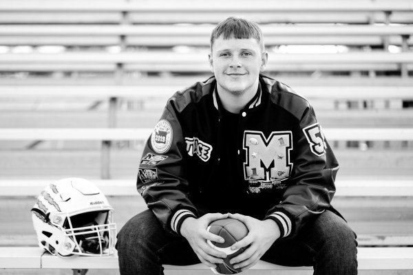 Franklin Photography Senior Photo of football player at Mead HS