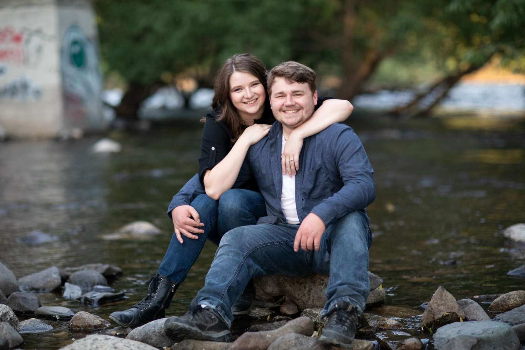 Engagement photo on the river