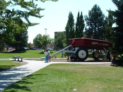 Riverfront Park Red Wagon