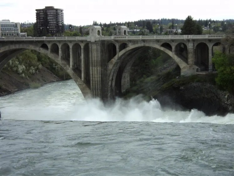 Monroe Street Bridge above Spokane Falls