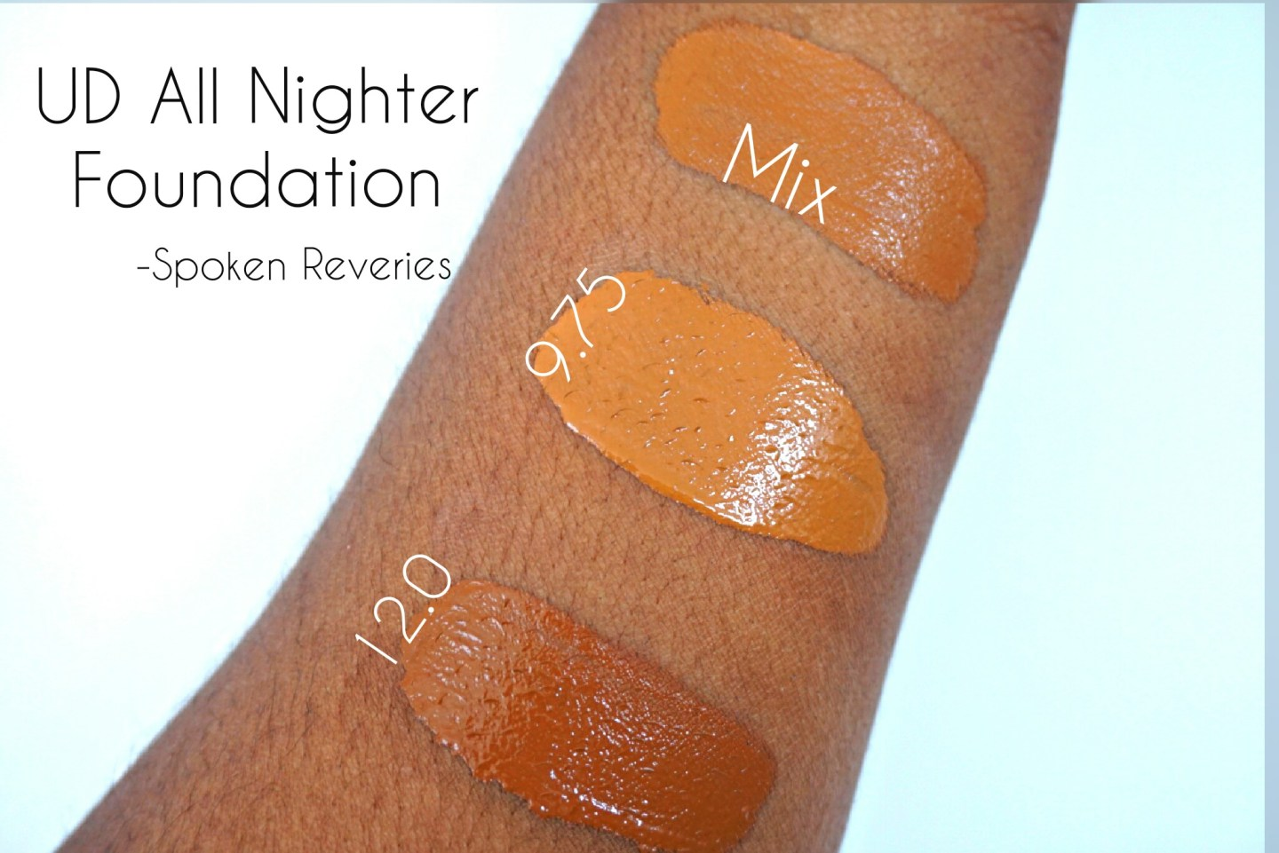 UD All Nighter foundation swatches