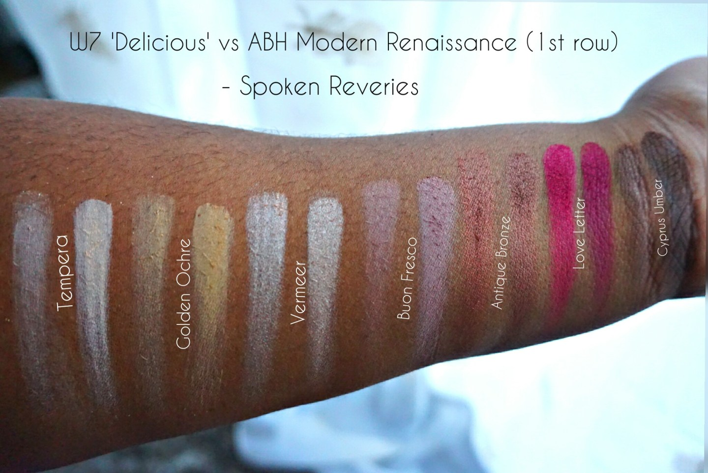 Row 1 swatches - W7 (L) and ABH (R)